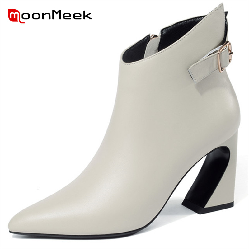 MoonMeek 2018 hot sale high heels shoes genuine leather boots fashion pointed toe woman ankle boots autumn winter ladies boots цена 2017