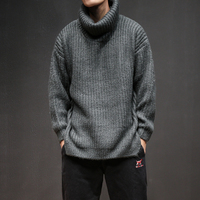 Fashion loose Knitted sweaters male winter sweater knit turtleneck pullovers Lapel solid Coarse wool sweater men plus size M 5XL