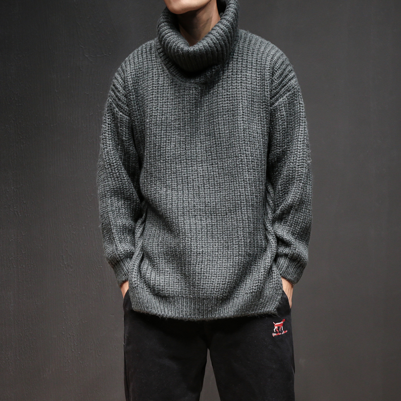 Fashion Loose Knitted Sweaters Male Winter Sweater Knit Turtleneck Pullovers Lapel Solid Coarse Wool Sweater Men Plus Size M-5XL