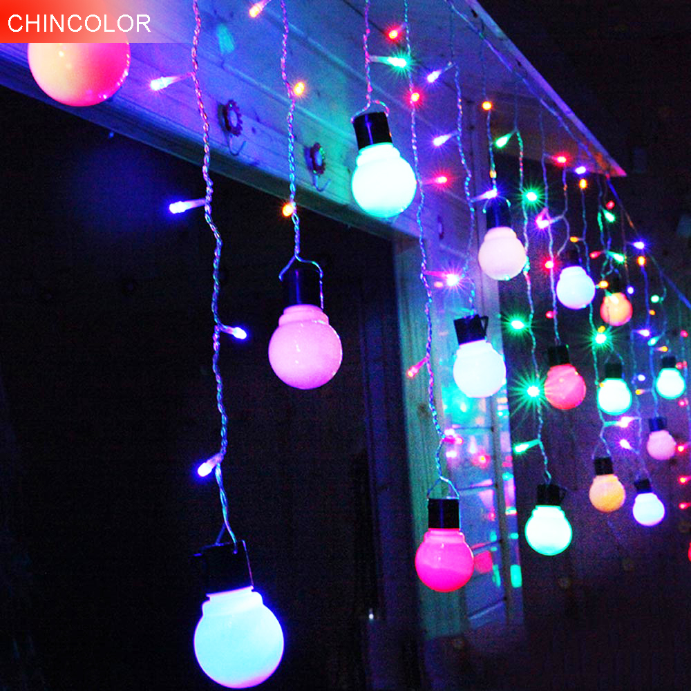 2*1m 104leds Holiday lights 5*8CM Bulb curtain LED light string AC220V Christmas Wedding fairy garland Party Decoration DA