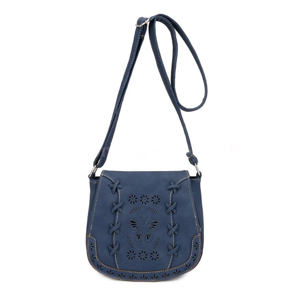 Women Leather Shoulder Bag Boho Purse Messenger Ladies Crossbody Handbag Dark Blue