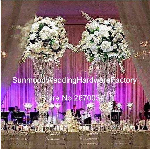 Clear Acrylic Bead Flower Arrangement Stands Tall Round Wedding Stage Stand Table Centerpieces Decoration
