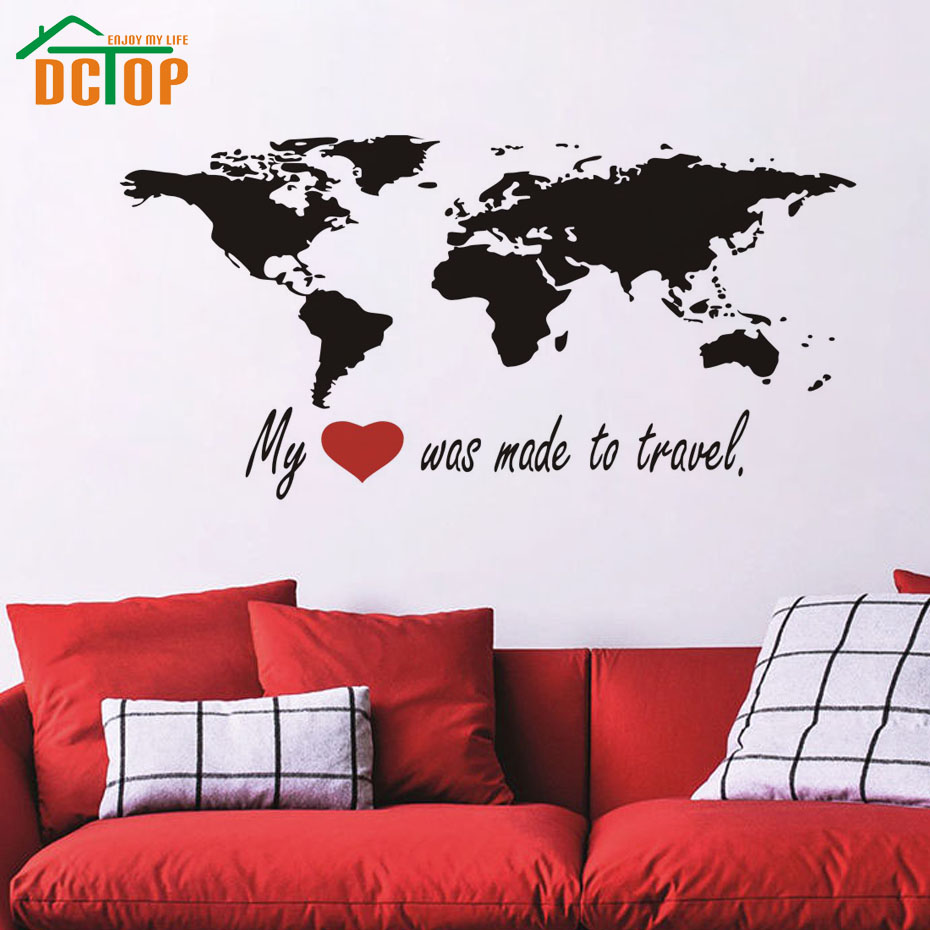 compare prices on travel decals online shopping buy low price dctop my heart was made to travel world map wall stickers bedroom removable vinyl wall decals