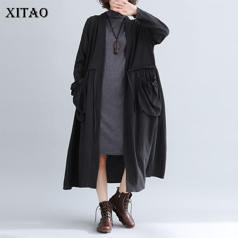 [XITAO] 2019 Spring New Big Size V-neck Full Sleeve Solid Color Belt   Trench   Loose All-match Stylish Casual Female   Trench   DLL2565