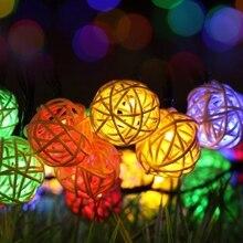 Светодиодный гирлянда на батарейках, сказочные огни, 3 м, ротанговый шар, вечерние, свадебные, для сада, патио, спальни, внутреннего, наружного украшения