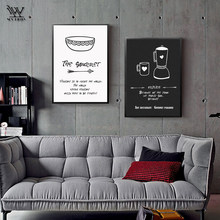 Black and White Wall Art Print on Canvas Decorative Painting Cafe Posters Coffee House Decoration Quotes Nostalgic Wall Pictures(China)