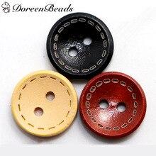 30 шт 1,5 см Крашеные деревянные пуговицы Круглые 2 отверстия для одежды DIY ремесла красно-коричневые/темно-коричневые/натуральные/черные кнопки