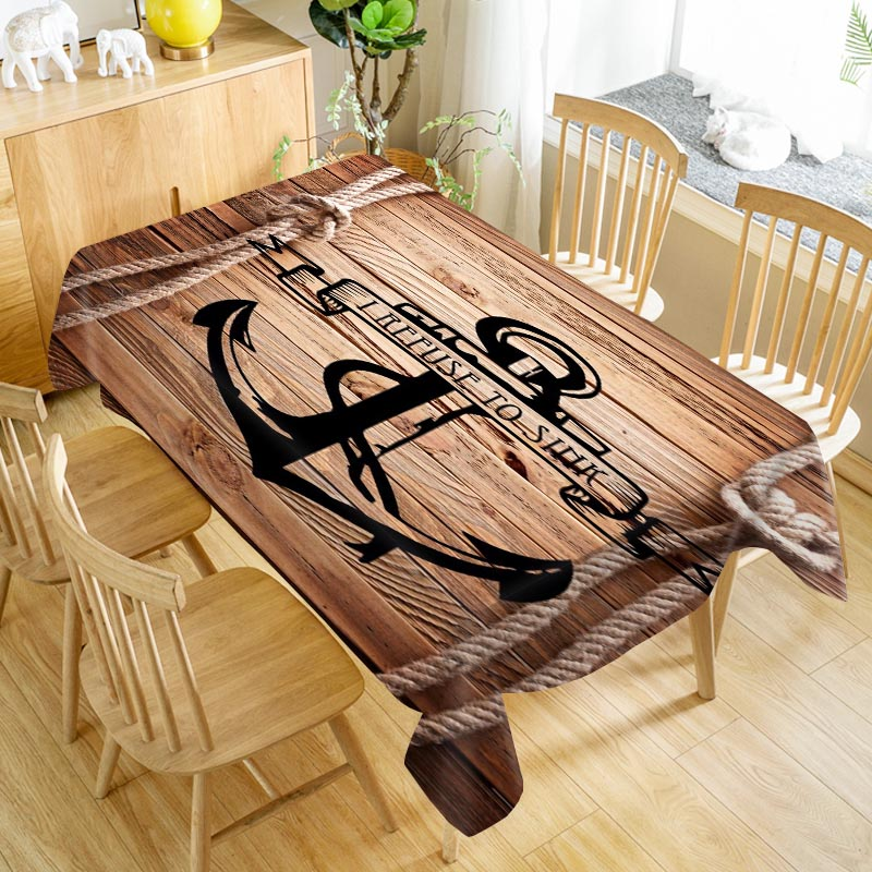 Classic Wood And Anchor Table Cloth Oxford Print Waterproof Oilproof Home Rectangular Party Table Cover 100X140cm/140X250cm
