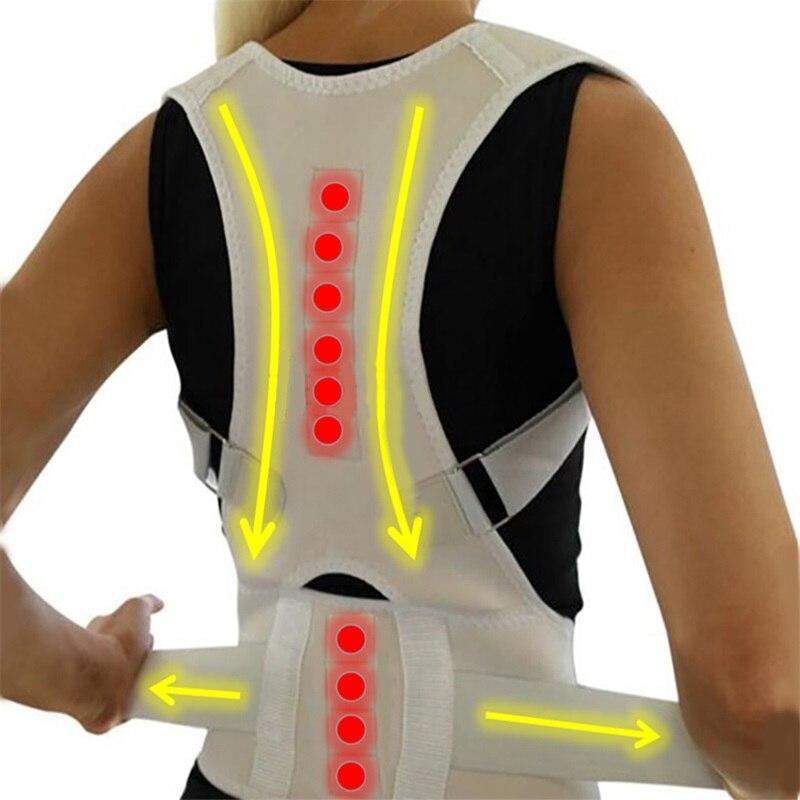 Corrector Postura magnética para Mulheres Homens Cinto de Suporte Ortopédico Corset Voltar Belt Suporte Dor Nas Costas Brace Ímãs Terapia B002