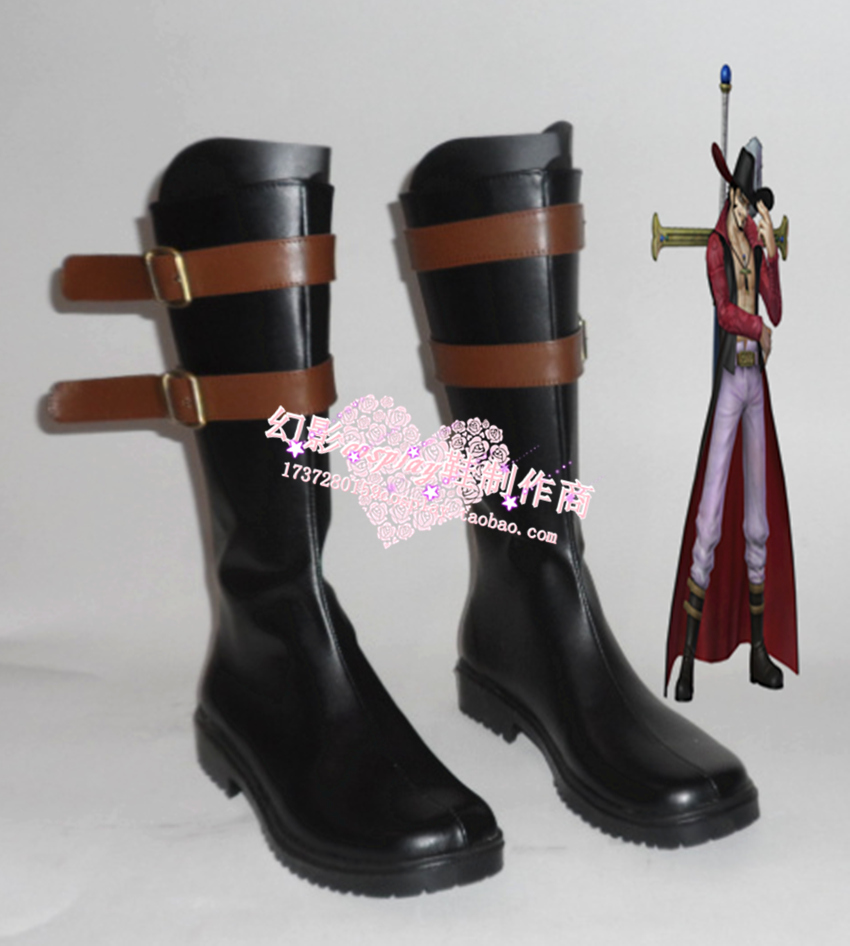 One Piece Dracule Mihawk Black Halloween Long Cosplay Shoes Boots H016