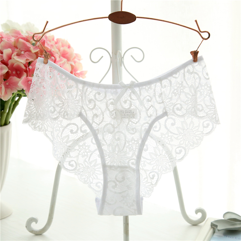 Sexy   Panties   Big Size S-XL 7 Colors High-Crotch Transparent Floral Bow Soft Briefs Underwear Culotte Soft Briefs Sexy Lingerie