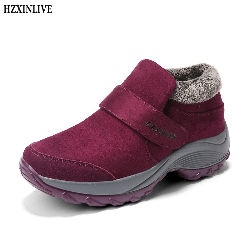 HZXINLIVE 2018 Winter Women Snow Boots Waterproof Warm Plush Platform Ankle Boots Hiking Sneakers Shoes Botas
