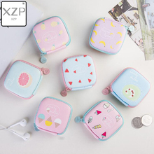 XZP Summer Lovely Mini Round Fruit Ice Cream Key Box Case Coin Bag for Earphone Headphone SD TF Cards Storage Purse Organizer