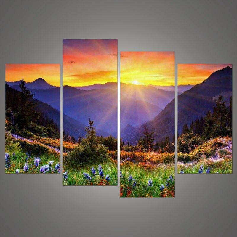 Nové modulární obrázky Modulární obrázky (bez rámečku) Západ slunce moderní umění ložnice-nábytek-online-nakupování plátno modulární obrazy