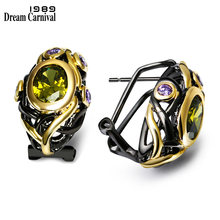 DreamCarnival 1989 CZ Stud Earrings for Women Olivine Purple Gold Color Gothic Black Wedding Jewelry Mulheres Brincos Pendientes(China)