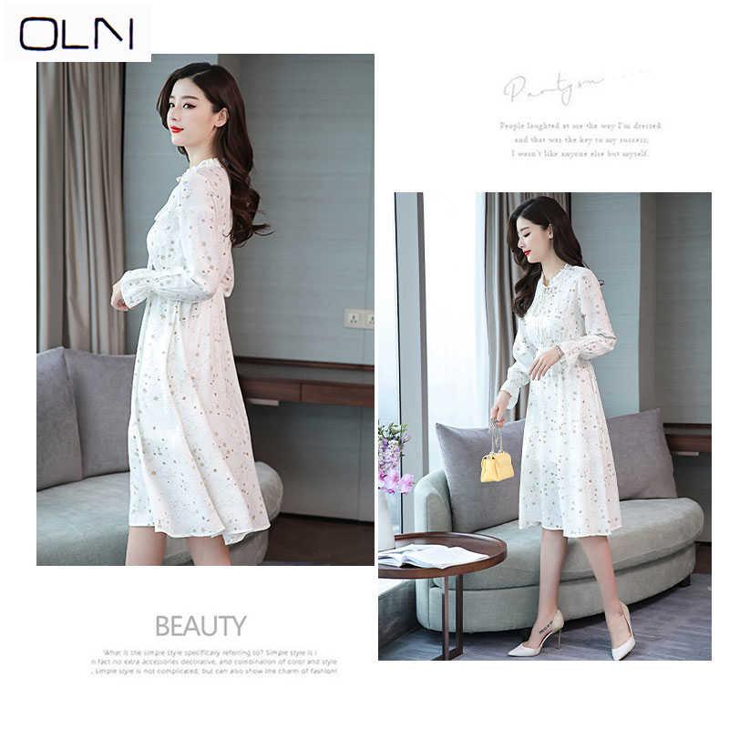 Vestidos корейское платье oln летнее Новое двухсекционное Платье женское платье средней длины с длинным рукавом белое платье с принтом