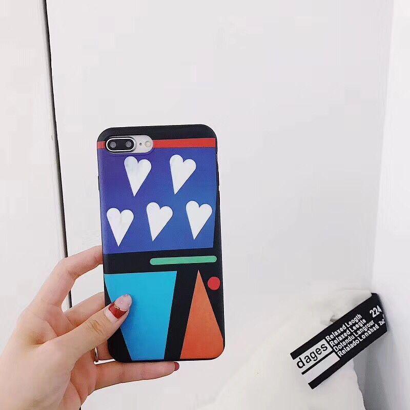 Luxury Suprem Love Heart Geometric Pattern Phone Case for iphone 6 6Plus S 7 7 plus 8 8Plus X phone cases coque