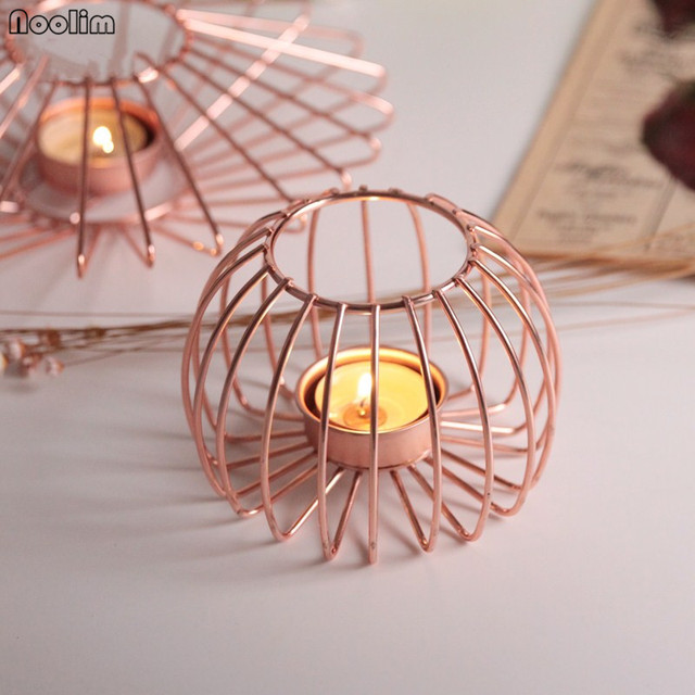 Us 16 12 20 Off Noolim Rose Gold Iron Candlestick Nordic Creative Geometric Candle Holder Tabletop Ornaments Home Wedding Decor In Candle Holders