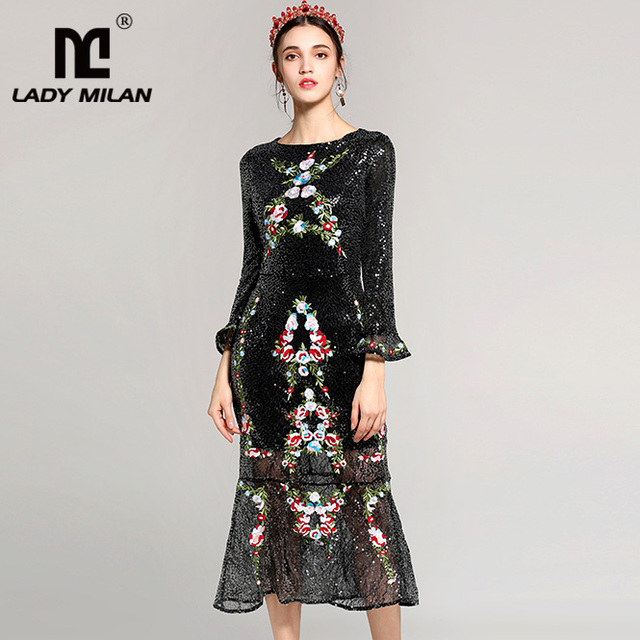 Lady Milan 2018 Women's O Neck Long Sleeves Sequined Embroidery Party Prom Ruffles Mermaid Runway Designer Dresses
