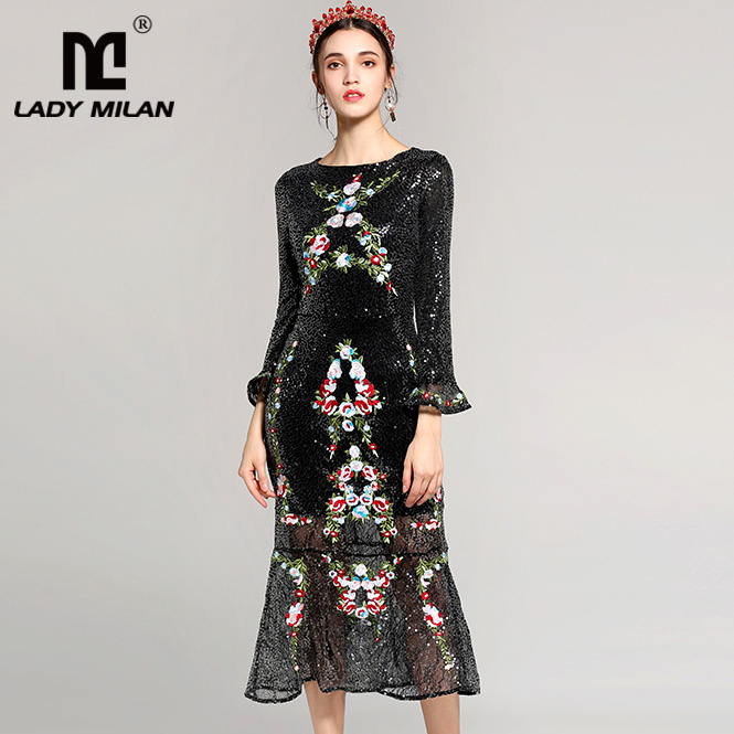 Lady Milan 2018 Womens O Neck Long Sleeves Sequined Embroidery Party Prom Ruffles Mermaid Runway Designer Dresses