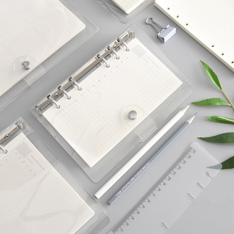 Harphia A5 courroie de reliure à feuilles mobiles transparente noyau intérieur à feuilles mobiles A6 A7 carnet de notes journal de balle a5 planificateur fournitures de bureau