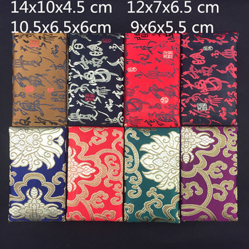 4 size Rectangle Chinese Silk Fabric Box for Necklace Gift Box Jewelry Storage Case Decoration Crafts Stone Collection Box 10pcs