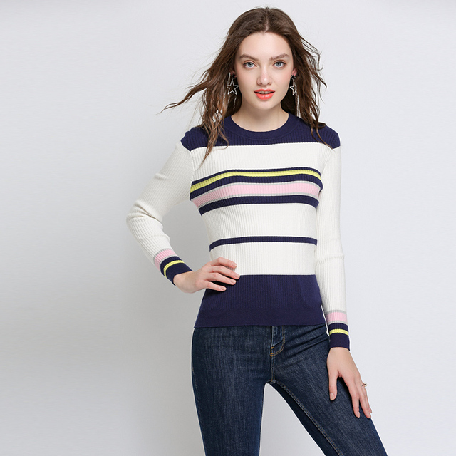 Autumn Basic Striped  Pullover Sweaters Plus Size Women 2018 Woman Casual Oversized Winter All Match Sweater Pullovers Tops 5xl