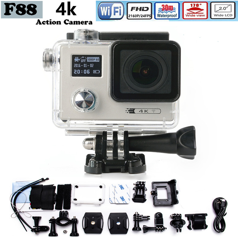 2017 WiFi Sport Camera F88 Action Camera Dual Screen 2160P HD 12MP Extra Sports Camara Go 30m Pro Waterproof Camera Hero add camera bag and two battery sport action camera 1080p hd 12mp sj4000 wifi extre sports camara gopro hero 3 go pro 4 cam style