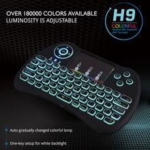 Multi Цвет Подсветка мини-клавиатура 2.4 г Беспроводной клавиатура Регулируемый Радуга подсветкой для Мини-ПК Android ТВ коробка Raspberry Pi 3