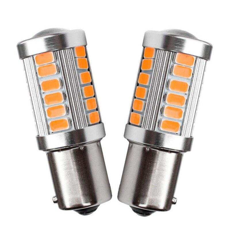 2 шт. 1156PY 7507 PY21W BAU15S 33 SMD 5630 5730 светодиодный автомобиль задний фонарь указателя поворота автоматическое Поворотники передние светильник янта...