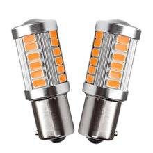 2 pces 1156py 7507 py21w bau15s 33 smd 5630 5730 led indicador de direção traseira do carro lâmpada auto frente sinais de volta luz âmbar amarelo