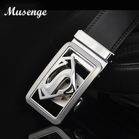 2015 New Fashion Men S Business Belts Luxury Superman Automatic Buckle Genuine Leather Belts For Men
