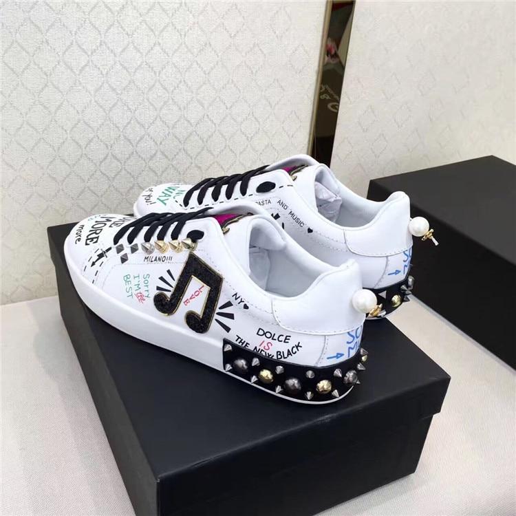 Tipe Zapatos Note Femme As Graffiti Casual Womans En up Sneakers Mujer Blanc Rivet Chaussures Pic Cuir Confortable Punk Appartements De Dentelle qrzZwq