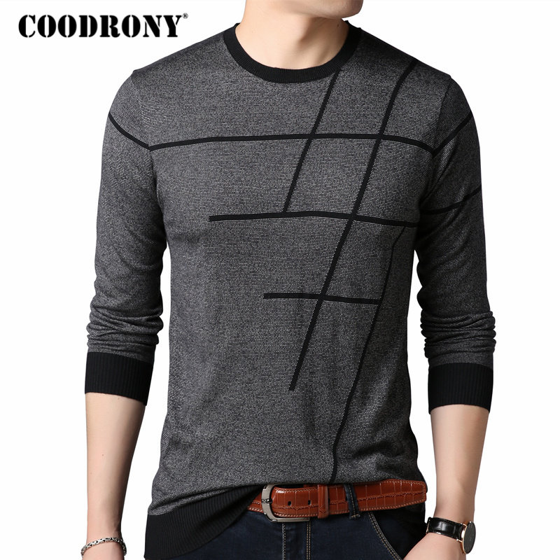 COODRONY Sweater Men Pull Autumn Striped Casual Plus-Size O-Neck Homme 8150 Thin New-Arrivals