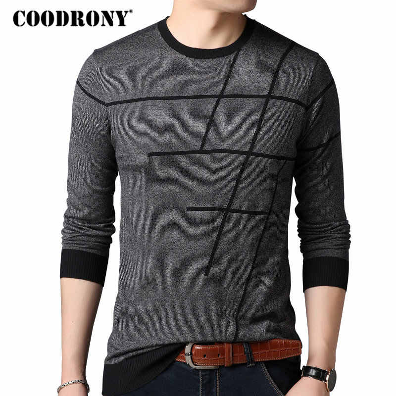 COODRONY Sweater Men Casual Striped O-Neck Pullover Men Clothes 2018 Autumn New Arrivals Pull Homme Plus Size Thin Sweaters 8150