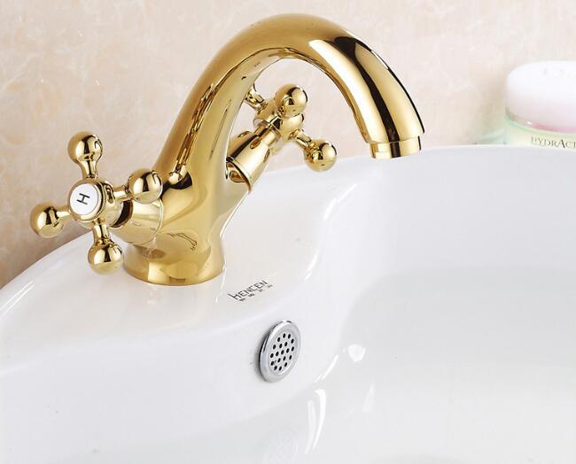 Vidric Bathroom golden dual handle taps washbasin sink faucets hot and cold water mixer faucetVidric Bathroom golden dual handle taps washbasin sink faucets hot and cold water mixer faucet