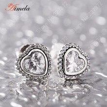 AIMELA de Lujo 925 Plata Esterlina AAA CZ Diamond Heart Stud Pendientes Para Las Mujeres Joyería Fina de La Boda Mejor Regalo del Día de San Valentín