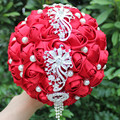 Handmade Wine Red Color Crystal Tassel Holding Bouquet Beaded Pearl Artificial Flower Bride Bouquet Bridesmaid Customizable W229
