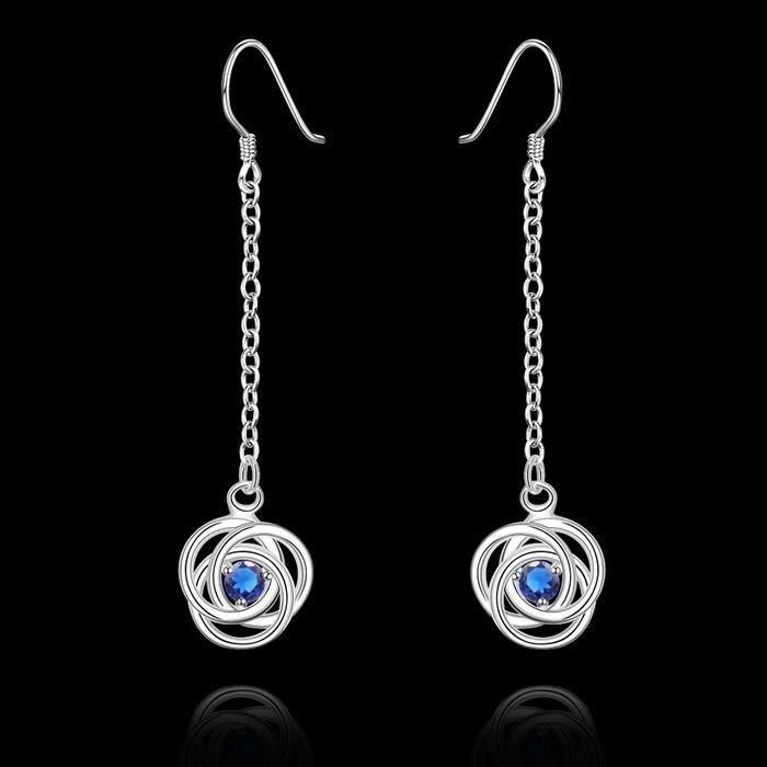 Серьги посеребренные Серьги серебристо-голубой циркон Серьги Для женщин Мода ювелирные изделия оптом Бесплатная доставка Безопасный le523
