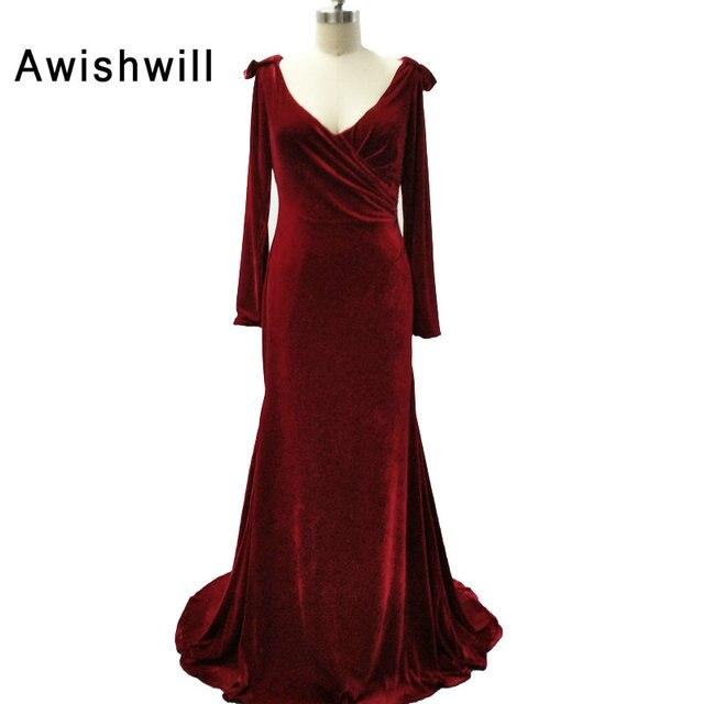 a7d1520b839 Mode robes De soirée en velours 2019 longues robes formelles robes De soirée  en velours col