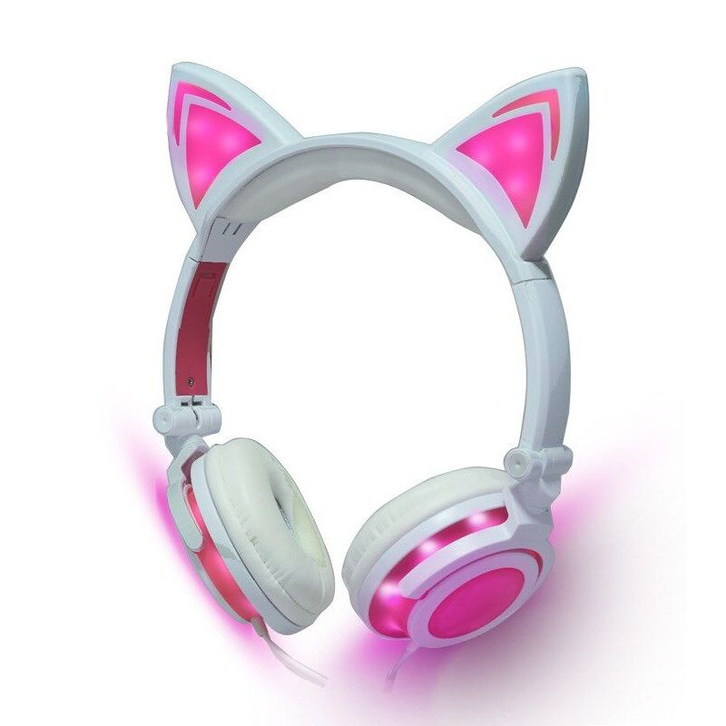 Hot Sell Foldable Kid Gift Headphones 3.5mm Gaming Cat Ear Headset Glowing Flashing Wired Headphone For PC Phone Samsung Xiaomi