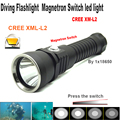 100m Diving led Flashlight Cree XM L2 Waterproof Magnetron Switch Stepless dimming led light Underwater torch (BY 18650 battery)