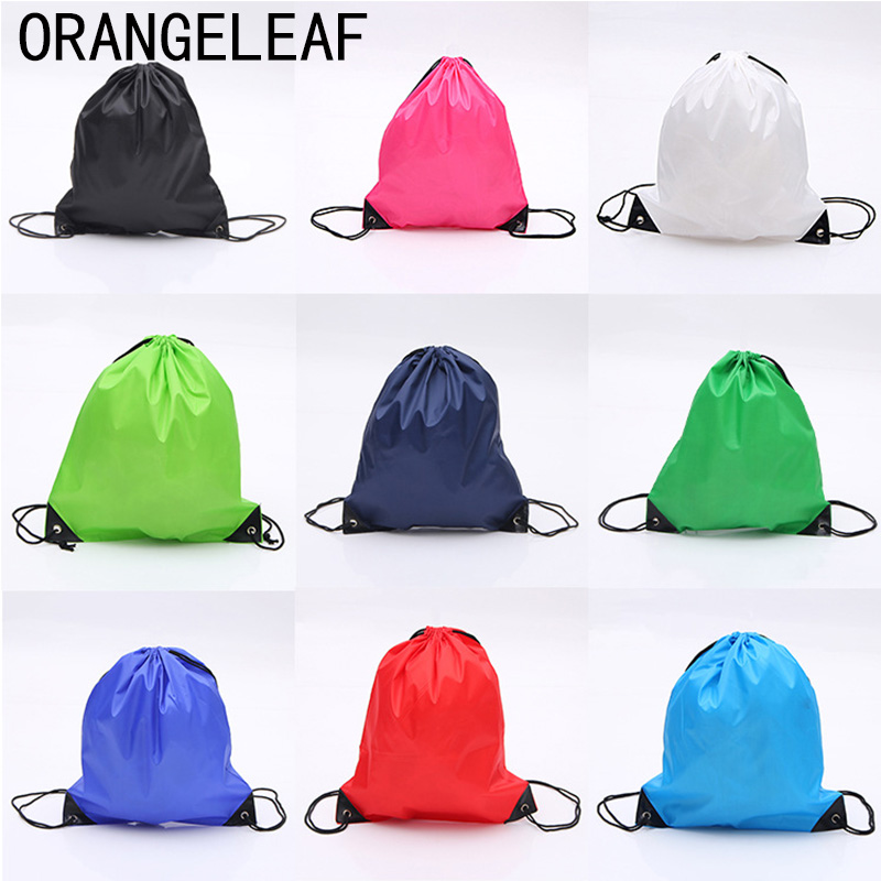 Fashion 210D Nylon Drawstring Bags Solid Color Portable Sports Bag Outdoor Backpack Gym Drawstring Shoes Bag Clothes Backpacks