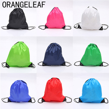Fashion 210D Nylon Drawstring Bags Solid Color Portable Sports Bag Outdoor Backpack Gym Shoes Clothes Backpacks