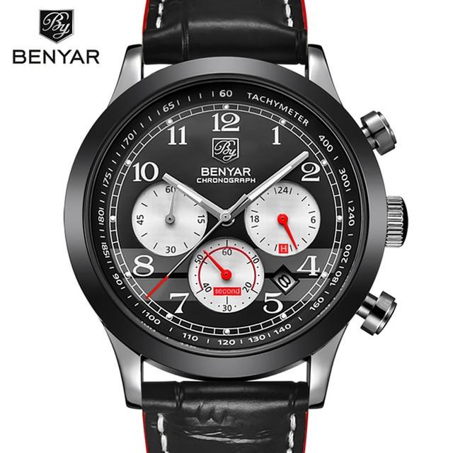 5b315387313 BENYAR Reloj Hombre Relógio Cronógrafo De Quartzo de Luxo Homens Relógio de  Pulso do Esporte Masculino