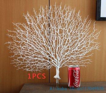 1 قطع جميلة مروحة الاصطناعي شكل البلاستيك المجففة فرع النبات الرئيسية الزفاف الديكور هدية دون إناء f330 1