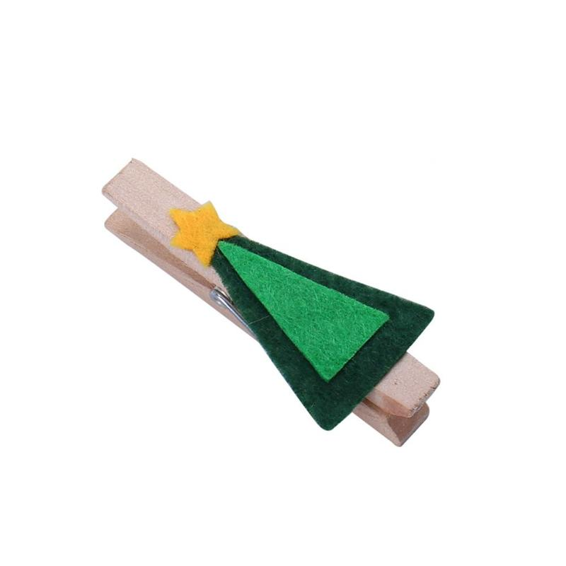 6pcs/lot Paper Photo Clip Wooden Christmas Tree Memo Pincer Clips Wooden Small Clamps Stand Peg Desk Gadget