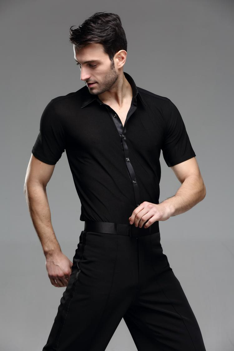 Picture of 2016 Spring And Summer Short-Sleeve Shirt Black Male Dance Adult Modern Dance Clothes Rumba Samba Latin Dance Shirt