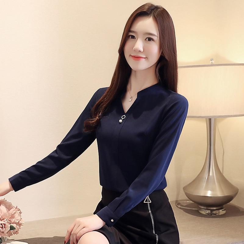 Womens Tops And Blouses Blusas Mujer De Moda 2021 Shirts Beading Chiffon Blouse Solid V-Neck White Shirts 2412 50 2