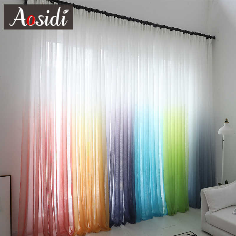 Modern gradient color window tulle curtains for living room bedroom organza voile curtains Hotel Decoration blue Sheer curtains